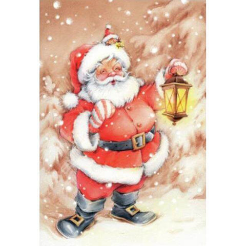 Image of Santa Clause holding a lamp - DIY Diamond Painting