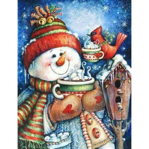 Image of Snowman drinking hot choco - DIY Diamond Painting
