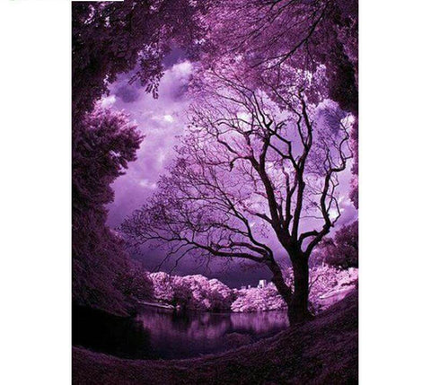Image of Purple Lake Scenery - DIY Diamond Painting