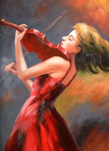 Girl playing violin - DIY Diamond Painting
