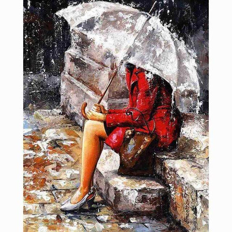 Image of Sitting in the Rain - DIY Diamond  Painting
