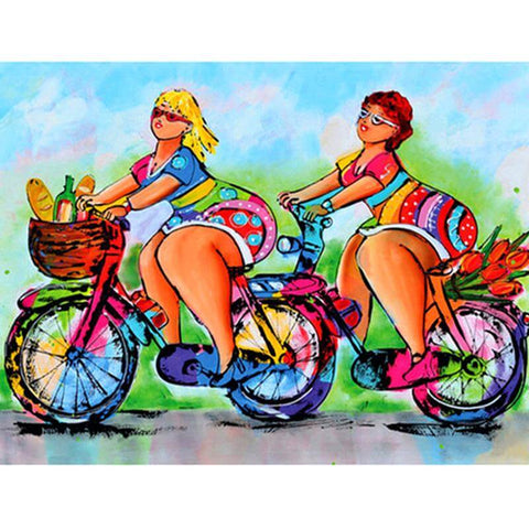 Women Riding on bikes - DIY Diamond  Painting