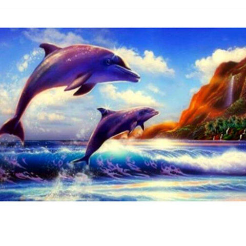 Image of Dolphins in sea waves - DIY Diamond Painting