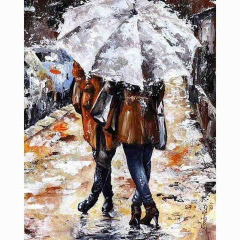 Image of Walking in the Rain - DIY Diamond  Painting