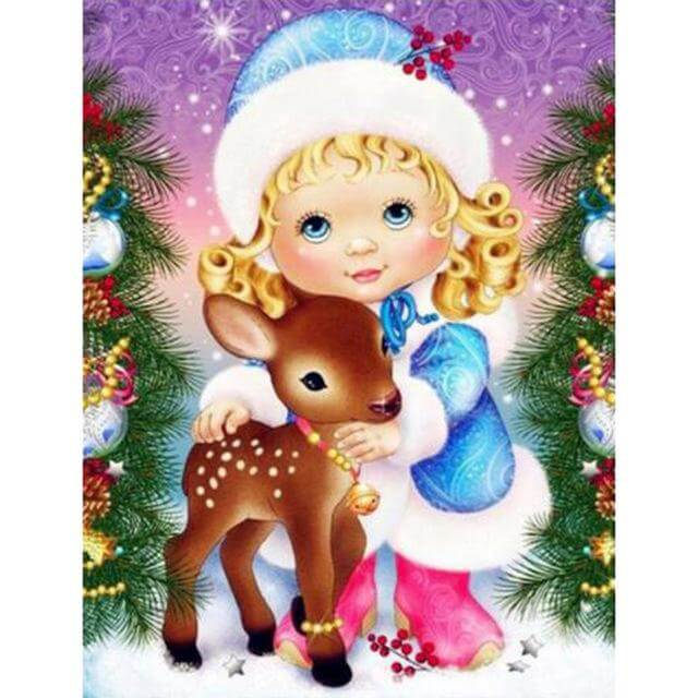 Girl and young deer - DIY Diamond Painting
