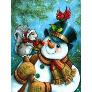 Snowman and a squirrel - DIY Diamond Painting