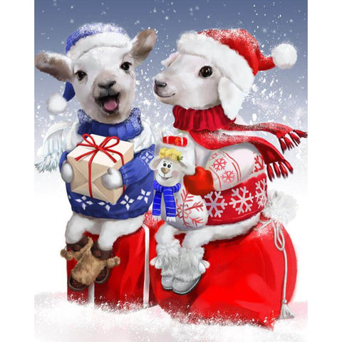 Image of Christmas Couple Goat - DIY Diamond Painting