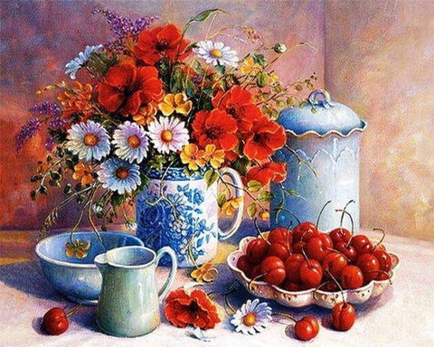Image of Flowers in a Vase - DIY Diamond  Painting