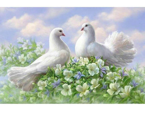 Image of White Pigeons - DIY Diamond  Painting