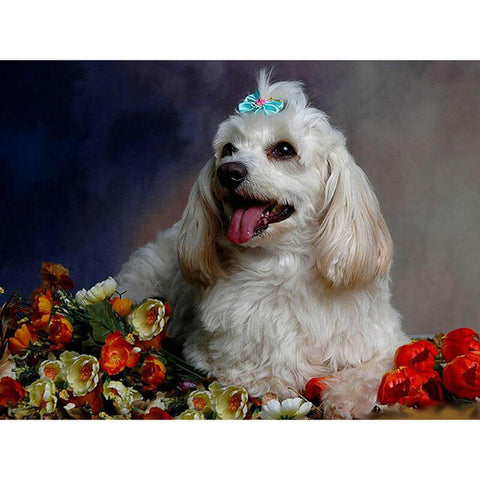 Image of White little Dog- DIY Diamond  Painting