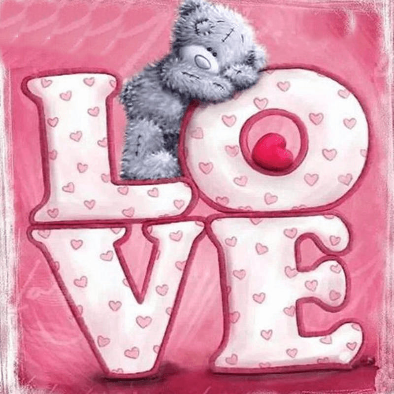 Teddy Bear Love - DIY Diamond  Painting