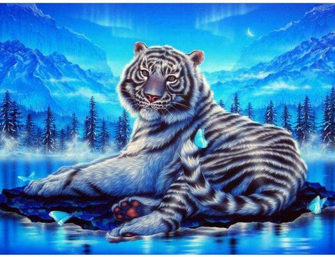 Image of Highlighted Tiger - DIY Diamond Painting