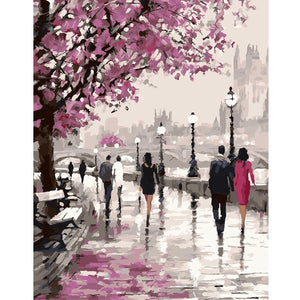 Couple in a rainy street - DIY Diamond Painting