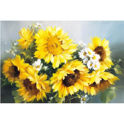 Sunflower and white flower - DIY Diamond  Painting