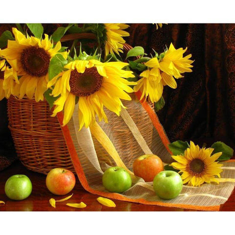Image of Sunflower with fruit basket - DIY Diamond  Painting