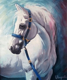 diy white horse painting