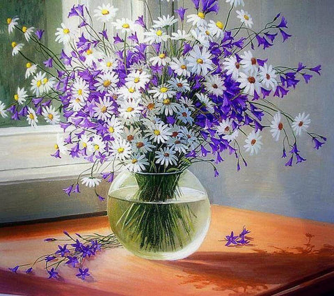 Image of Small daisies in a Vase - DIY Diamond  Painting