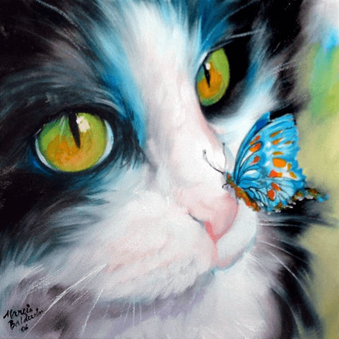 Image of Cat and Butterfly - DIY Diamond Painting