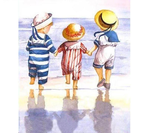 Image of Children at the beach - DIY Diamond Painting