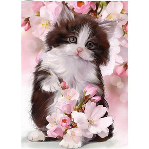Cat in flowers - DIY Diamond Painting