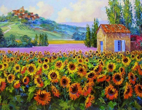 Sunflower in the farm - DIY Diamond  Painting
