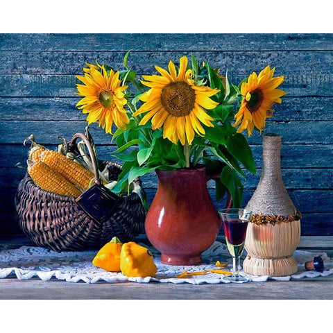 Image of Sunflower in a Vase - DIY Diamond  Painting