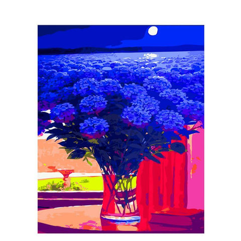 Image of Blue flower and sea - DIY Diamond Painting