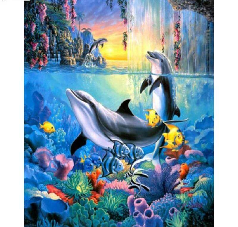 Dolphins under water - DIY Diamond Painting