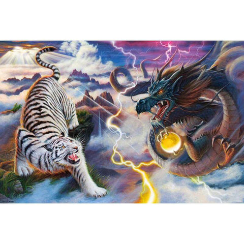 Image of Dragon and a White Tiger - DIY Diamond Painting