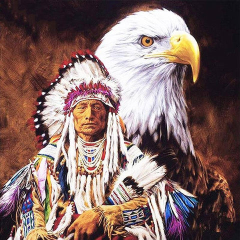 Image of Eagle & Indian - DIY Diamond  Painting