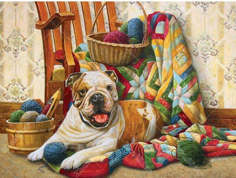 Image of Dog with yarns - DIY Diamond Painting