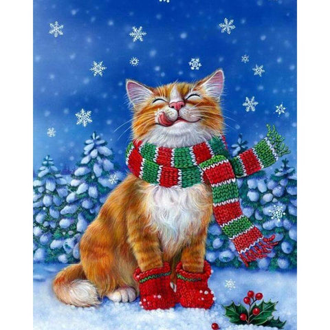 Image of Christmas Cat - DIY Diamond  Painting