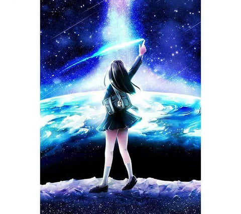Image of Girl star gazing - DIY Diamond Painting