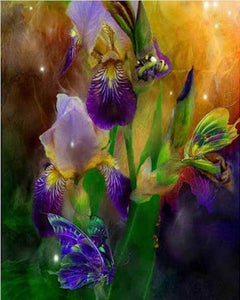 Glowing Iris flowers - DIY Diamond Painting