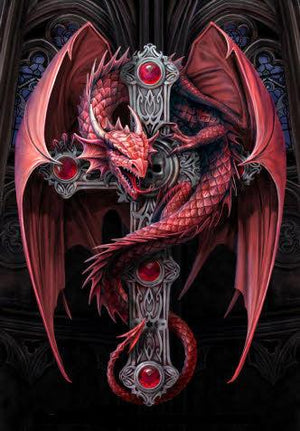 Red Dragon on a Black Cross -DIY Diamond Painting