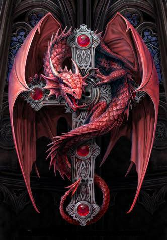 Image of Red Dragon on a Black Cross -DIY Diamond Painting