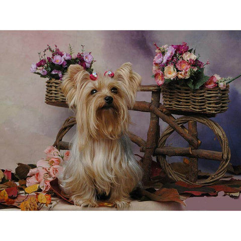 Image of Cute dog with flowers - DIY Diamond  Painting