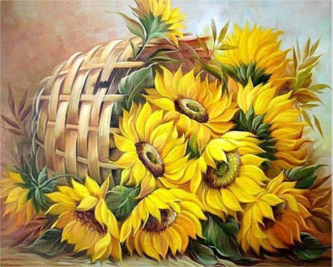 Image of Sunflower in a basket - DIY Diamond  Painting