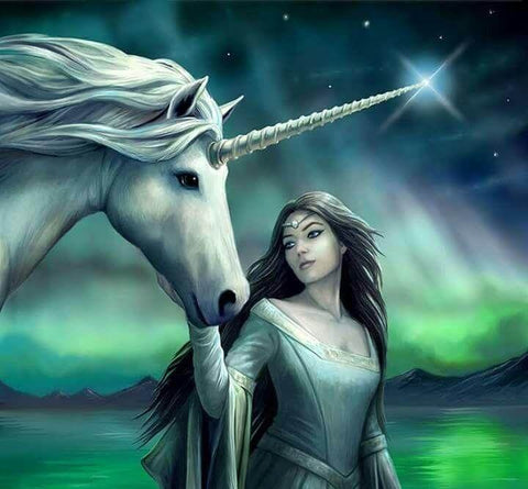 Image of Unicorn and a lady - DIY Diamond Painting