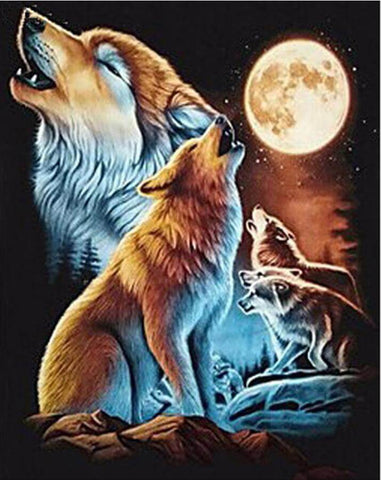 Image of Howling Wolves - DIY Diamond Painting