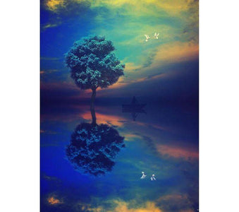 Scenic tree in a river - DIY Diamond Painting