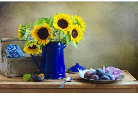Image of Sunflower in a watering pot - DIY Diamond  Painting