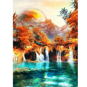 Waterfalls with rhinestones - DIY Diamond Painting