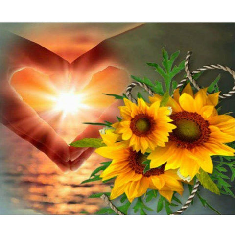 Image of Hand Heart and Sunflower - DIY Diamond Painting