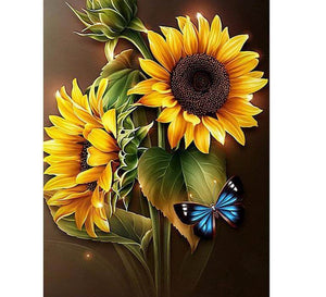 Butterfly on a Sunflower - DIY Diamond  Painting