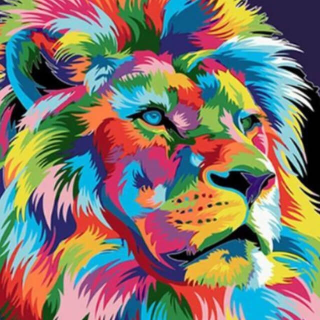 Colourful Abstract Lion - DIY Painting By Numbers