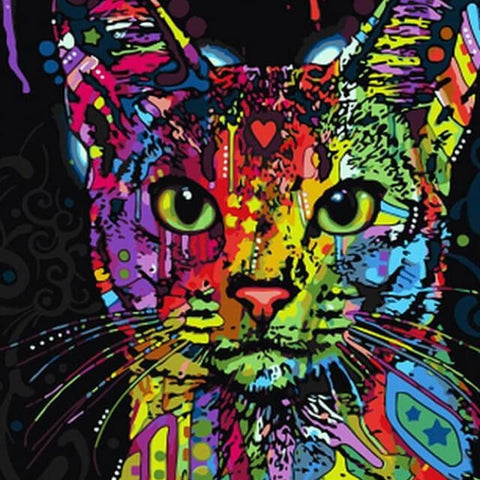 Colourful Abstract Cat -DIY Painting By Numbers