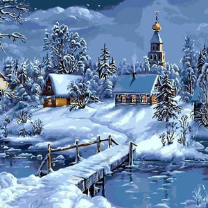 Christmas Snow - DIY Painting By Numbers