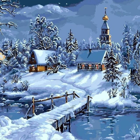 Image of Christmas Snow - DIY Painting By Numbers