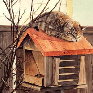 Cat lying on a Mailbox - DIY Painting By Numbers